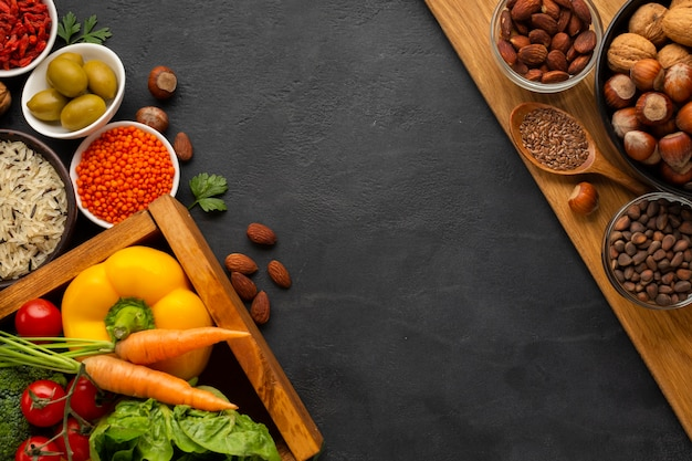 Vegetables with  nuts and copy-space Free Photo