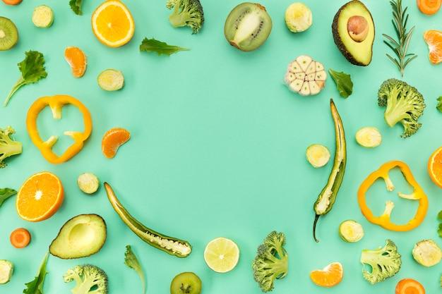 Овощи и фрукты копией пространства вид сверху Бесплатные Фотографии