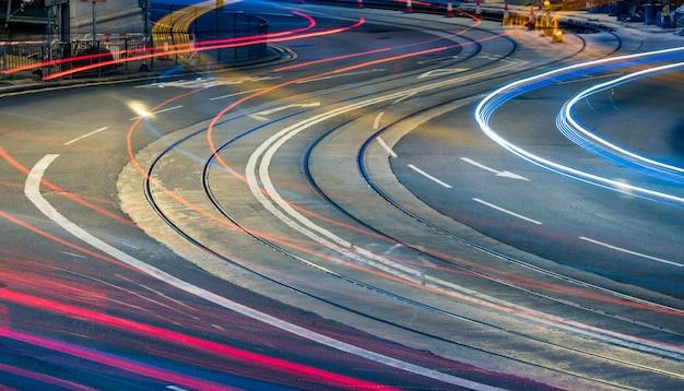 Vehicle Path On A Circular Road Night View Photo Premium Download