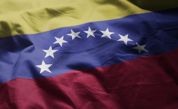 Venezuela flag rumpled close up Premium Photo