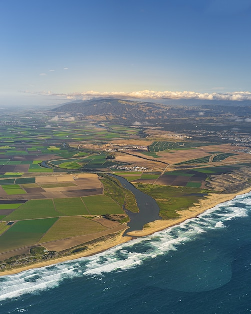 Vertical aerial of salinas valley in california, united states Free Photo