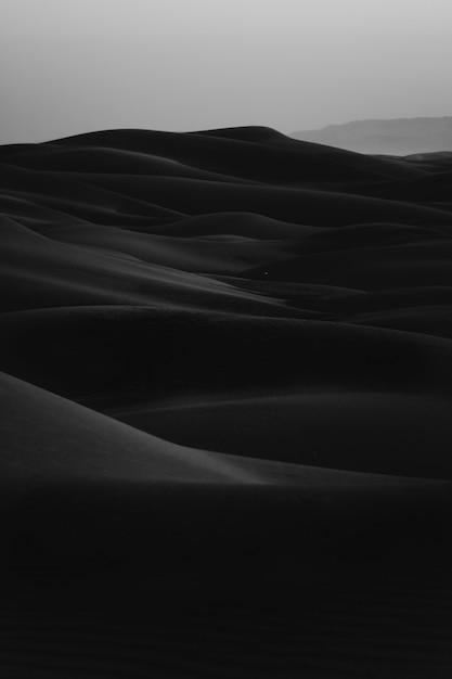 エルグ砂漠の垂直の黒と白のショット 無料写真