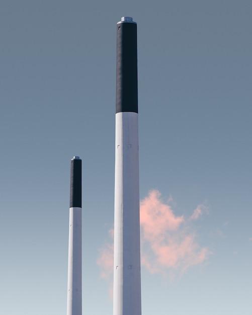 Vertical of chimneys of a factory in frederiskberg in copenhagen, denmark Free Photo