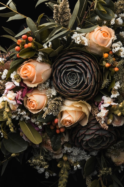 Vertical closeup shot of a luxurious bouquet of orange and brown roses Free Photo