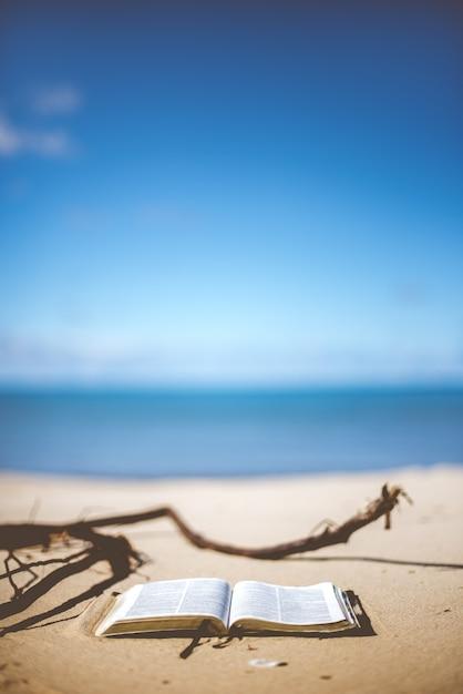 Colpo verticale del primo piano di una bibbia aperta su una riva della spiaggia di giorno Foto Gratuite