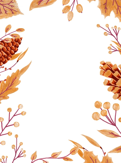 Vertical frame of colorful autumn leaves and berries Premium Photo