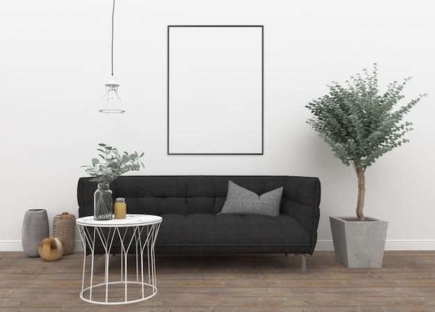 Vertical frame in scandinavian interior Premium Photo