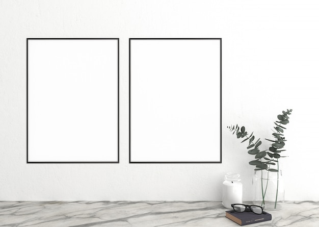 Vertical frame on white wall and frames Premium Photo