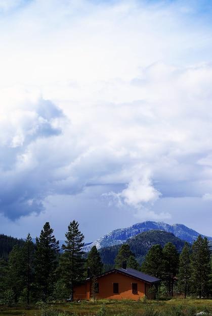 Colpo verticale ad alto angolo di una piccola casa sulle colline sotto il cielo nuvoloso a tuddal gaustatoppen Foto Gratuite