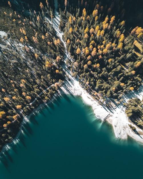Vista verticale ad alto angolo di un lago, whitr = e riva e foresta Foto Gratuite