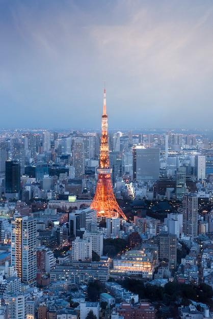 Вертикальный вид японии с башней токио во время заката Premium Фотографии
