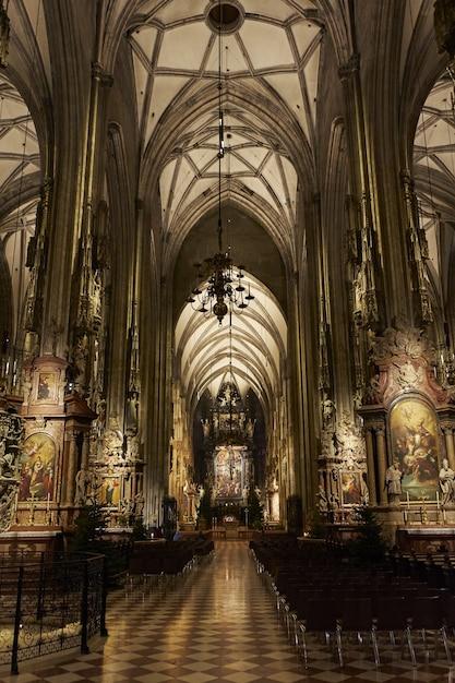 オーストリア、ウィーンの聖シュテファン大聖堂の内部の垂直ローアングルショット 無料写真