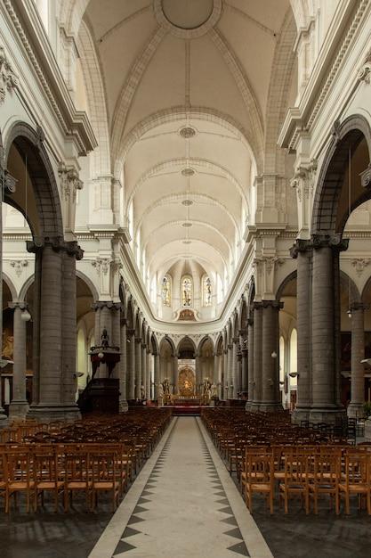 Immagine verticale della cattedrale di cambrai circondata da luci nel nord della francia Foto Gratuite