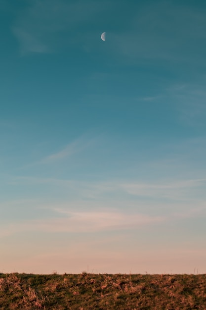 Vertical picture of the moon and the blue sky above a field during the sunset in the evening Free Photo