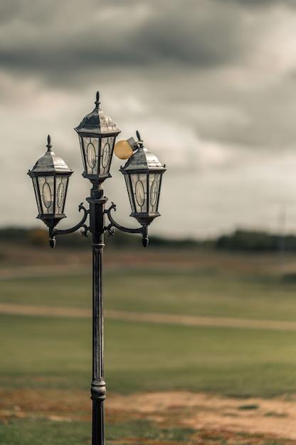 Messa a fuoco selettiva verticale colpo di un lampione nella city of westminster, abbey road Foto Gratuite