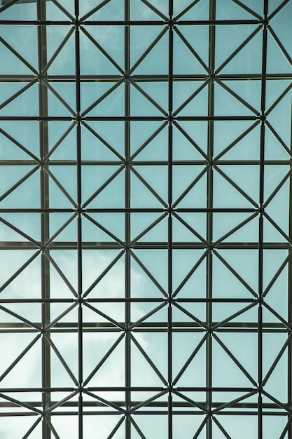 Vertical shot of the glass ceiling of a modern building in seoul, south korea Free Photo