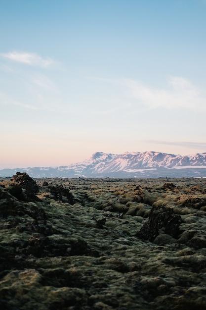 Colpo verticale delle strutture terrestri in islanda con una montagna innevata sullo sfondo Foto Gratuite
