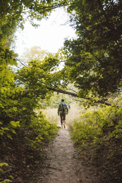 Vertical shot of a male with a backpack walking on a narrow pathway in middle of trees and plants Free Photo