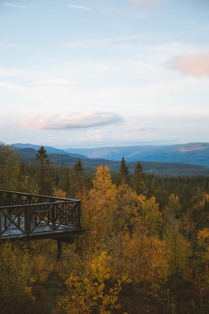山、ノルウェーの美しい木々の上のバルコニーの垂直方向のショット 無料写真