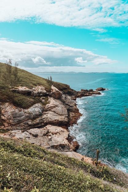Вертикальный снимок пляжа, покрытого камнями и травой Бесплатные Фотографии