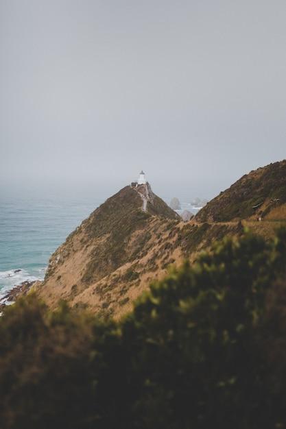 霧の背景を持つニュージーランドの美しいナゲットポイント灯台アフリリの垂直方向のショット 無料写真