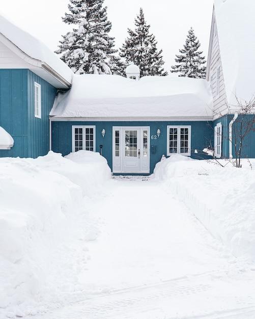 冬の間に白い雪で覆われた青い家の垂直ショット 無料写真