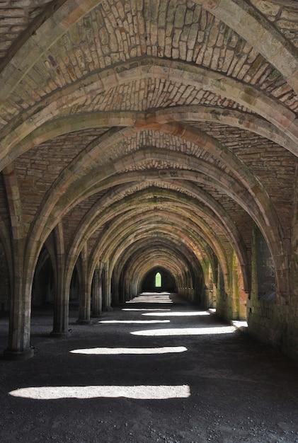 Вертикальная съемка погреба в аббатстве фонтанов, йоркшир, англия Бесплатные Фотографии
