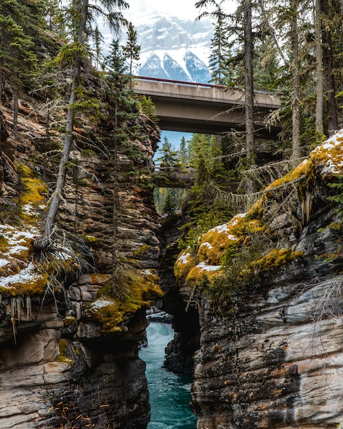 Вертикальный снимок реки посреди завораживающего горного пейзажа Бесплатные Фотографии
