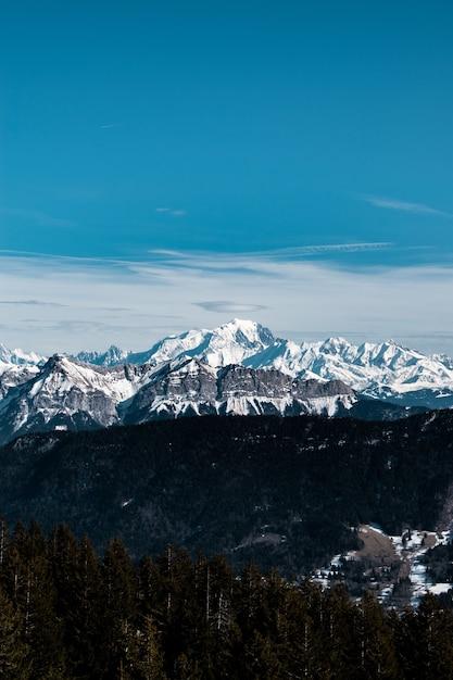 昼間の雪に覆われた山の垂直ショット 無料写真