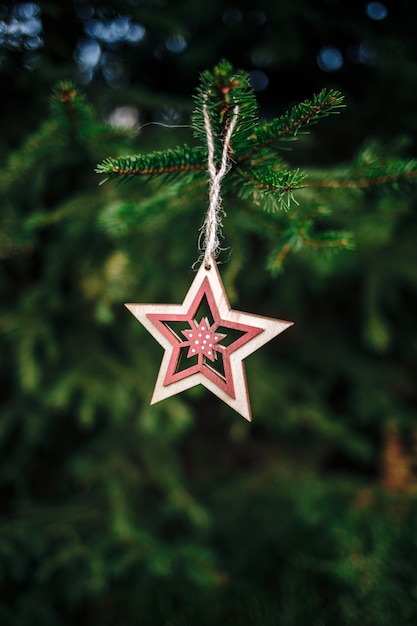 松の木からぶら下がっている木製の星型のクリスマス飾りの垂直ショット 無料写真
