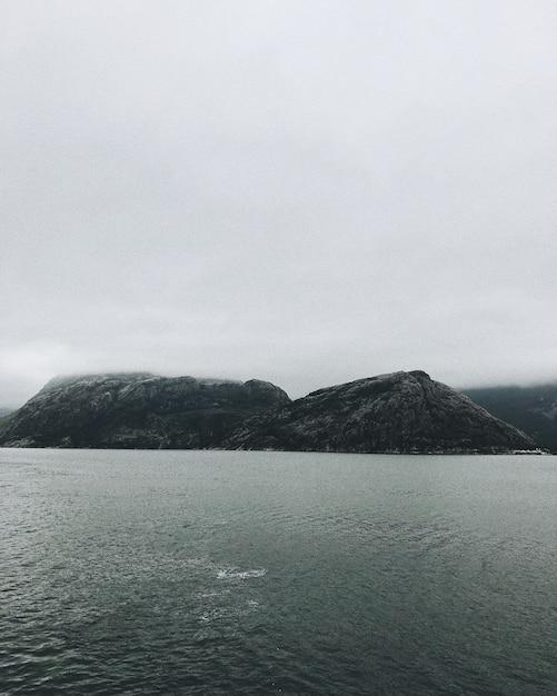 憂鬱な空の下で海岸の岩の垂直方向のショット 無料写真