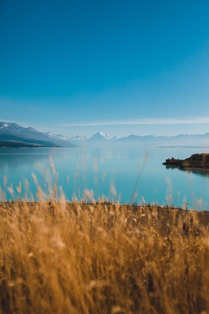 ニュージーランドのプカキ湖とマウントクックの垂直ショット 無料写真