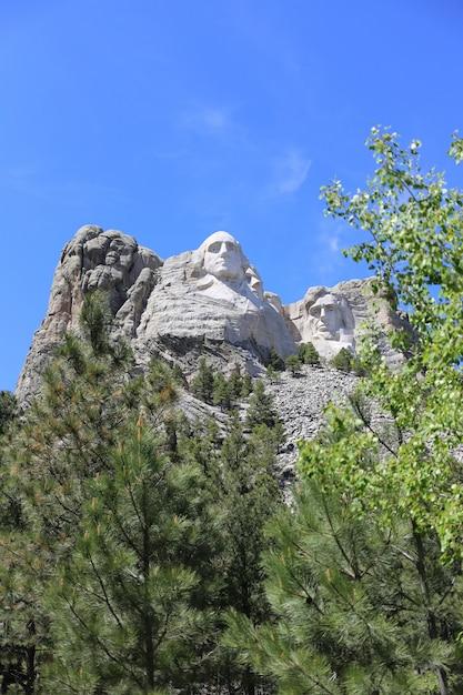 晴れた日にラシュモア山の垂直ショット 無料写真