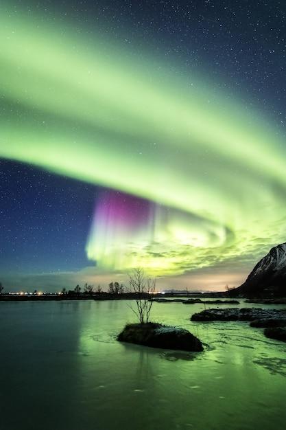 노르웨이에서 밤에 물에 아름다운 오로라의 반사의 세로 샷 무료 사진