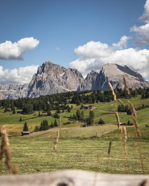 Colpo verticale della montagna sassopiatto a compatsch italia Foto Gratuite