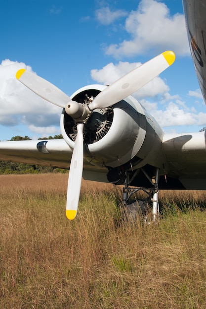 Vertical shot of the propeller of a plane landed on the dry grass Free Photo