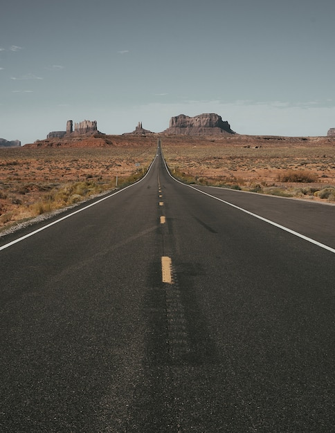 Vertical shot of the road surrounded by dry land Free Photo