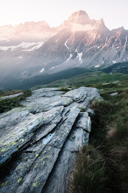 Vertical shot of a rock on a grassy hill with mountains Free Photo