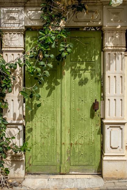 Vertical shot of a unique design of a wooden green door Free Photo