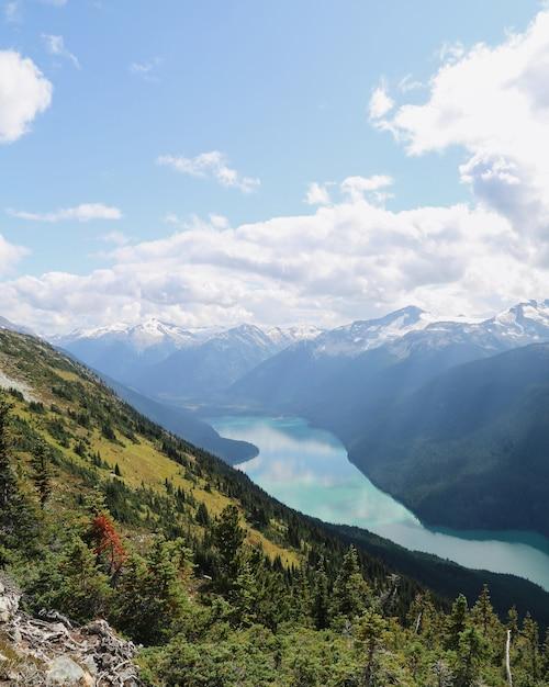 Colpo verticale delle montagne di whistler con un fiume che scorre tra in british columbia, canada Foto Gratuite