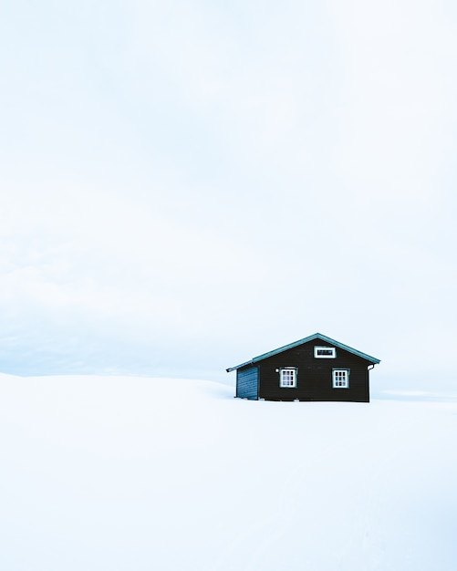 Vertical shot of a wooden cabin in a snowy area in norway Free Photo
