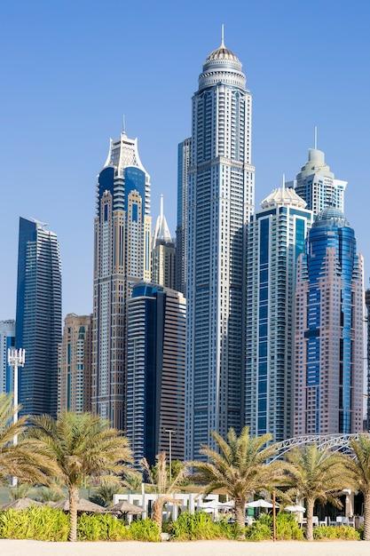 Вертикальный вид на небоскребы и пальмы в дубае. оаэ Бесплатные Фотографии