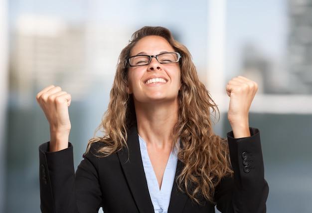 Very happy businesswoman portrait Premium Photo
