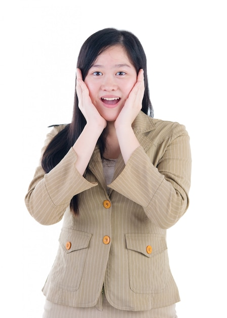 Very happy and surprised asian woman. isolated on white background. Premium Photo