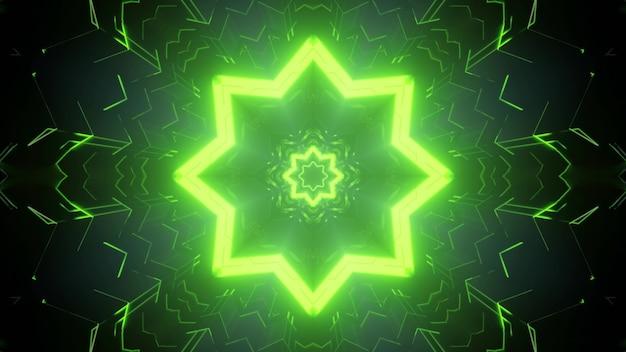 Vibrant green neon illuminated star tunnel with sci fi star as 3d illustration Premium Photo