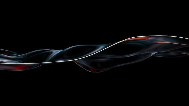 활기찬 액체 물결 모양 배경입니다. 3d 그림 추상 무지개 빛깔의 유체 렌더링합니다. 다채로운 간섭을 가진 네온 홀로그램 매끄러운 표면. 세련된 스펙트럼 흐름 모션. 무료 사진