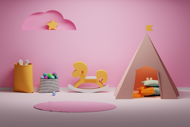 Vibrant room with wooden horse and wigwam Premium Photo