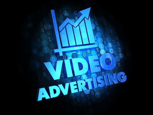 Video advertising with growth chart - blue color text on dark digital background. Premium Photo