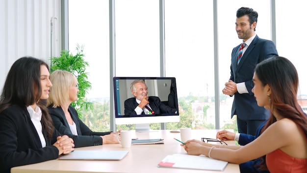 Video call group business people meeting on virtual workplace or remote office Premium Photo
