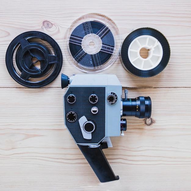 ビデオカメラおよびフィルムリール 無料写真